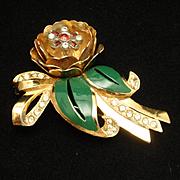 Quivering Flower Brooch Pin Rhinestones Enamel Trembler