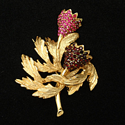 Schiaparelli Double Flower Brooch Pin 2 Colors Rhinestones c1950s