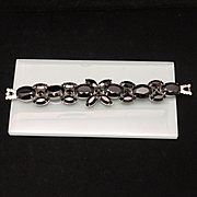 Weiss Vintage Bracelet Silver Tone with Black Stones