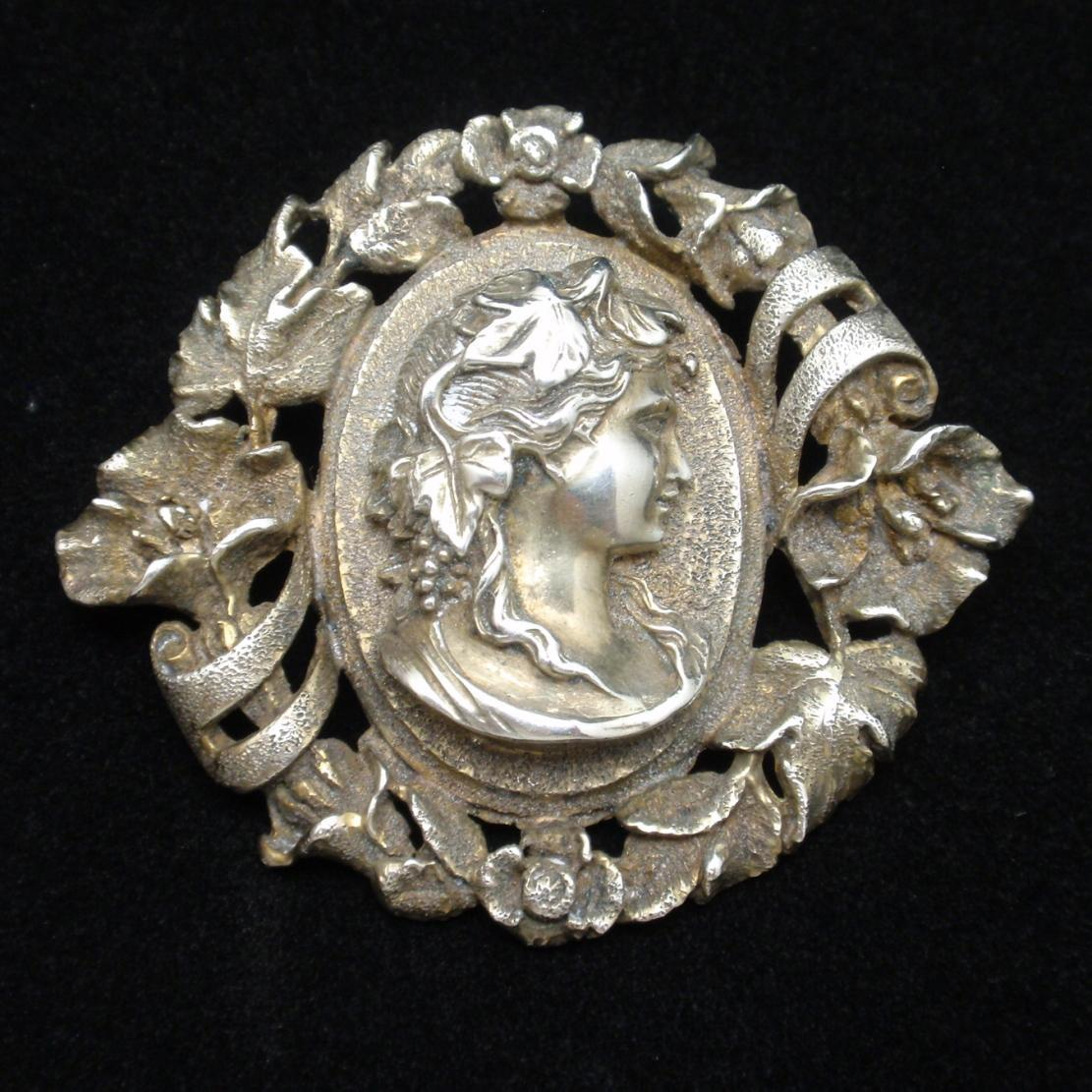 Cameo Brooch Pin High Relief Unsigned Vintage