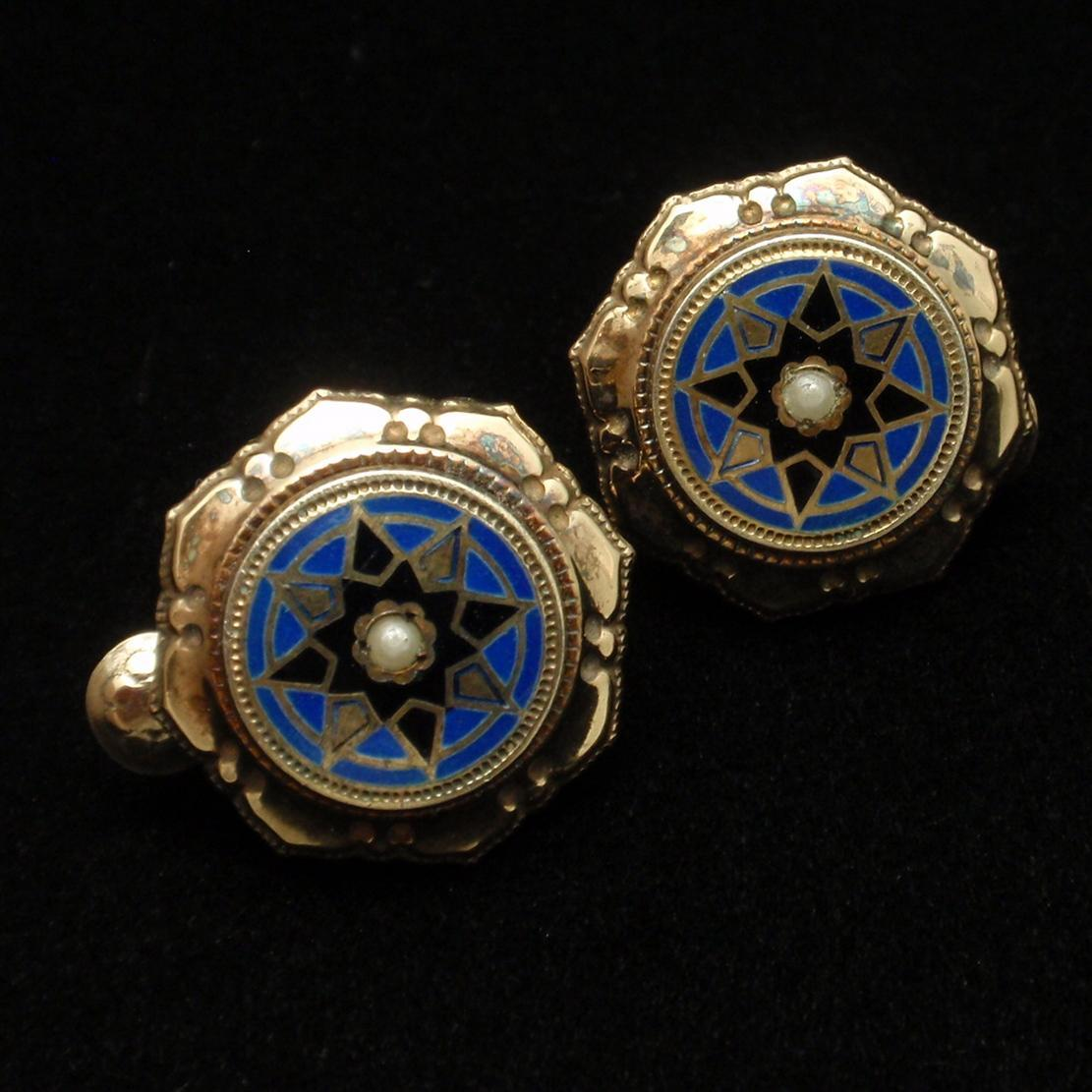 Vintage Earrings 800 Silver Vermeil Enamel Seed Pearl Clips