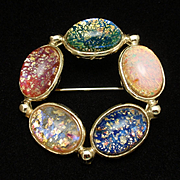 Multi-Colored Glass Cabs Circle Pin Vintage