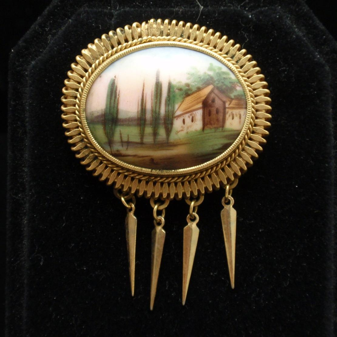 Nature Scenic Pin Ceramic with Gold Tone Bezel and Dangles Vintage