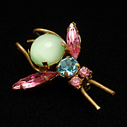 Insect Bug Brooch Pin Vintage Glass Stones Austria