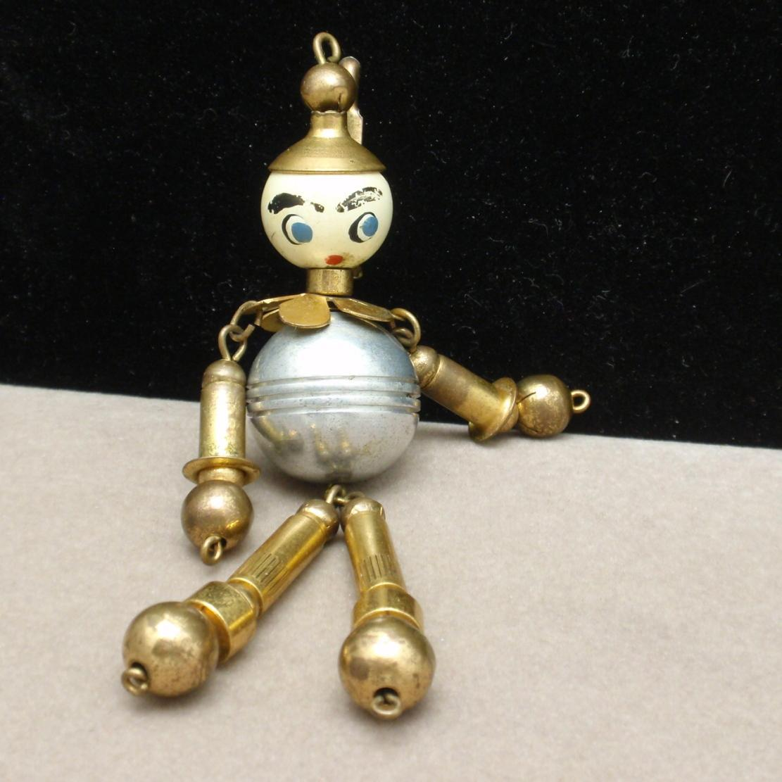 Moving Metal Parts Brooch Pin Crib Toy Figure Robotics Tin Man Vintage