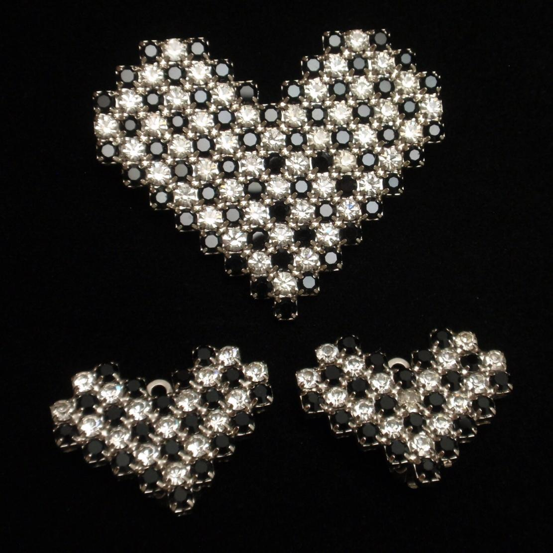 Rhinestone Heart Set Brooch Pin Earrings Graphic Black and White Dorothy Bauer