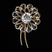 Flower Brooch Pin Open-Backed Clear Lucite Stones Vintage
