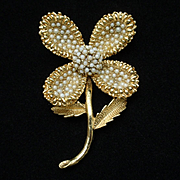Seed Pearl Flower Pin Vintage Ciner Brooch