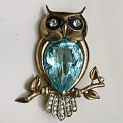 Owl Pin Vintage Sterling Silver Vermeil Rhinestones Reja Figural Brooch