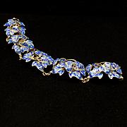Ivy Bracelet Sterling Silver Blue Enamel Vintage Italy Dimensional