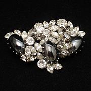 Rhinestone & Hematite Brooch Pin Vintage Schoffel Austria