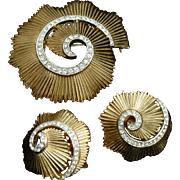 Trifari Pin and Earrings Set Ribbed Metal Clear Rhinestones Swirl Design Vintage
