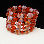 5-Row Flex Bracelet Orange Glass and Givre Stones Vintage