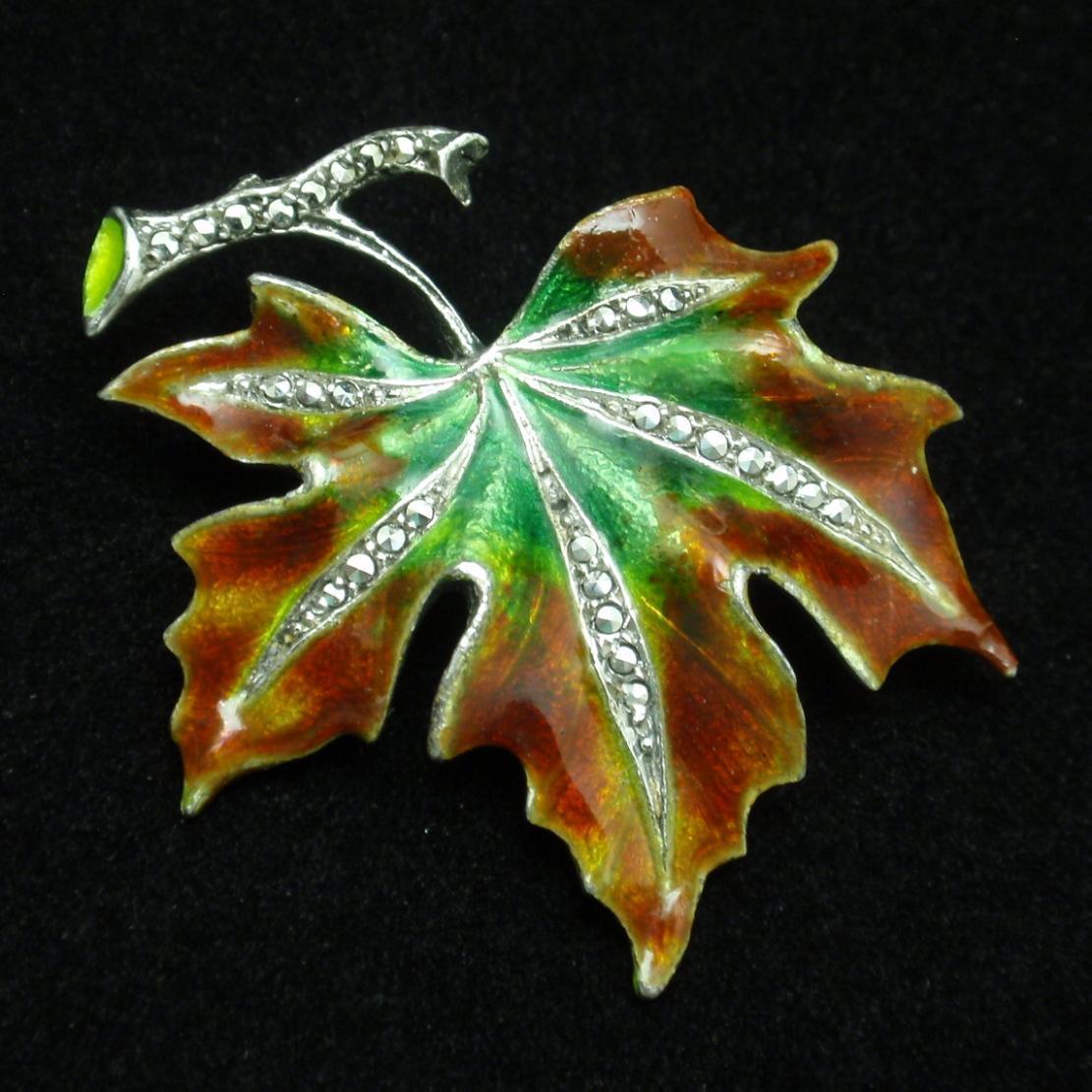 Leaf Pin Vintage Sterling Silver Enamel Marcasites Alice Caviness Germany