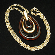 Mod Trifari 1960s Pendant Necklace Imitation Tortoiseshell