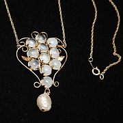 Moonstone Pendant Necklace Vintage