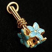 Nosegay Floral Bouquet Charm 14k Yellow Gold Enamel Flowers Vintage NOS Sloan