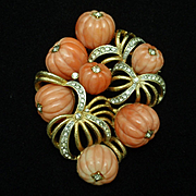 Hobe Brooch Carved Melon Coral Beads Rhinestones Vintage Pin Pendant