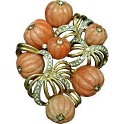 Hobe Brooch Carved Melon Coral Beads Rhinestones Vintage Pin Pendant