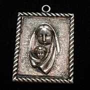 Madonna and Child Charm Sterling Silver Vintage Relief