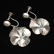 Pansy Earrings Sterling Silver Stuart Nye Vintage Screwbacks