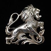 Lion Pin Sterling Silver Vintage Brooch Cini Zodiac Leo