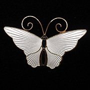 Butterfly Pin David Andersen Norway Sterling Silver Enamel Vintage Brooch