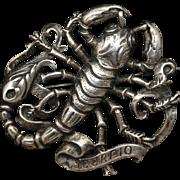 Zodiac Brooch Pin Scorpio Scorpion Cini Sterling Silver Vintage