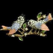 Lovebirds Birds Branch Brooch Pin Vintage Kramer Enamel Rhinestones