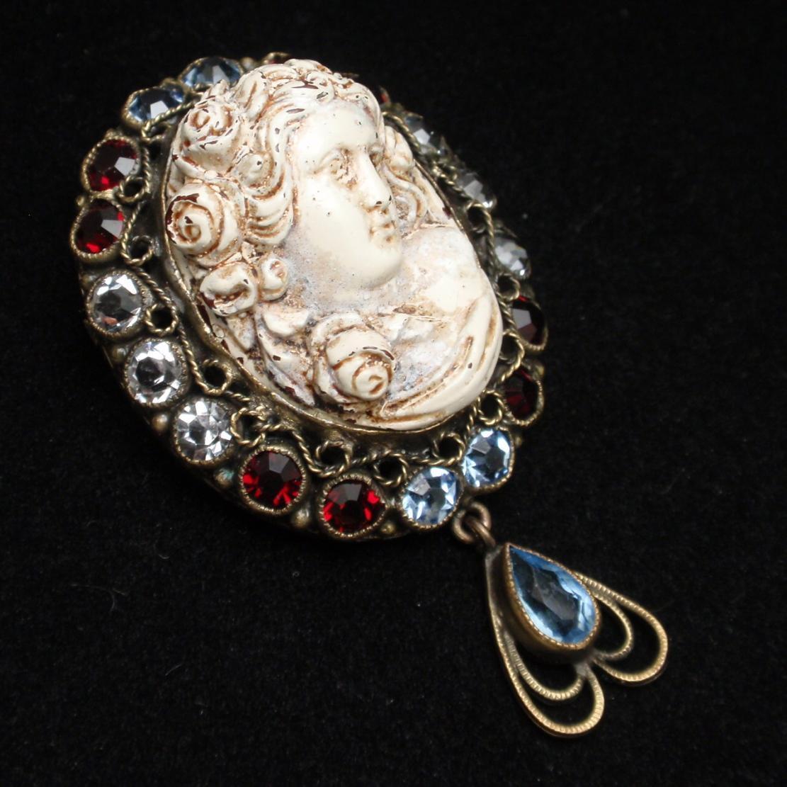 Cameo Pin Pendant Rhinestones High Relief Vintage