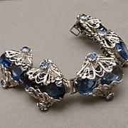Blue Bracelet Vintage Chunky Large Glass Stones