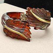 Tortoiseshell Bakelite and Brass Clamper Bracelet Vintage