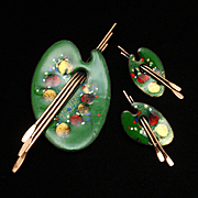 Palette Pin & Earrings Set Vintage Matisse Renoir Copper Enamel