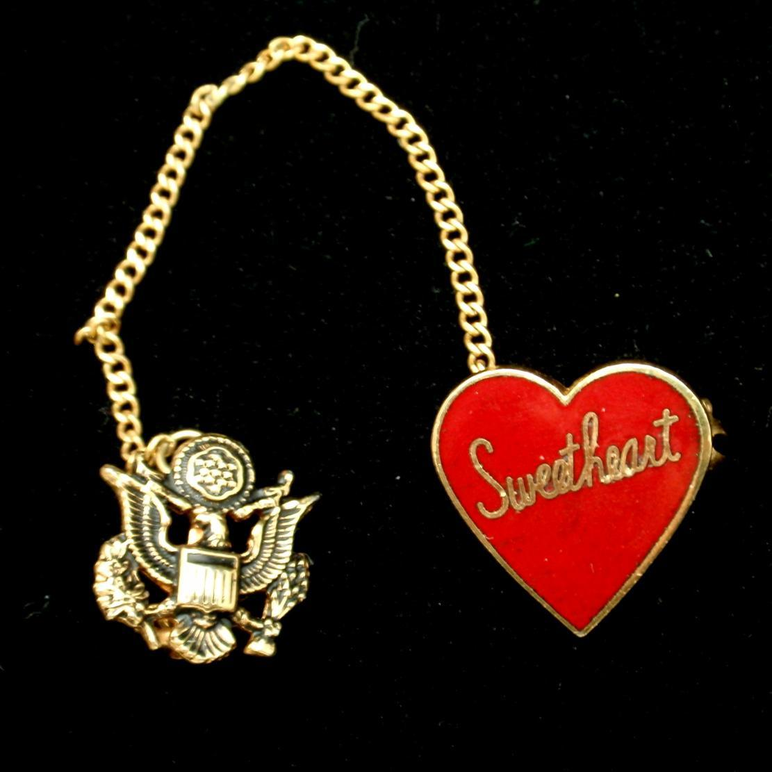 WW II Era Sweetheart Pin USA Eagle Red Enamel Heart Vintage