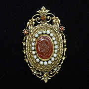 Ornate Intaglio Brooch Pin Vintage