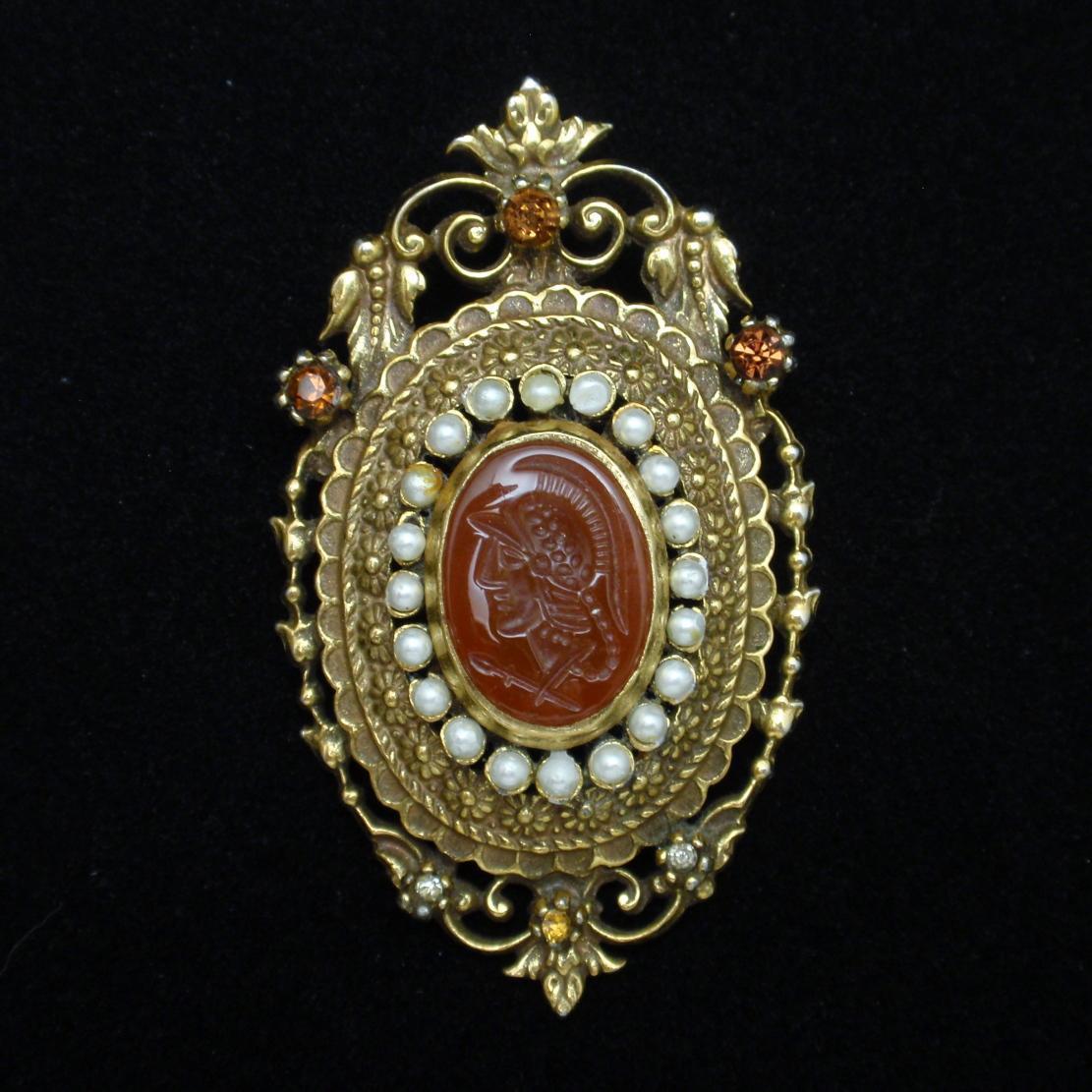 Ornate Intaglio Brooch Pin Vintage