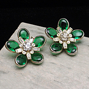 Barclay Earrings Vintage Green and Clear Rhinestones Flowers Clips