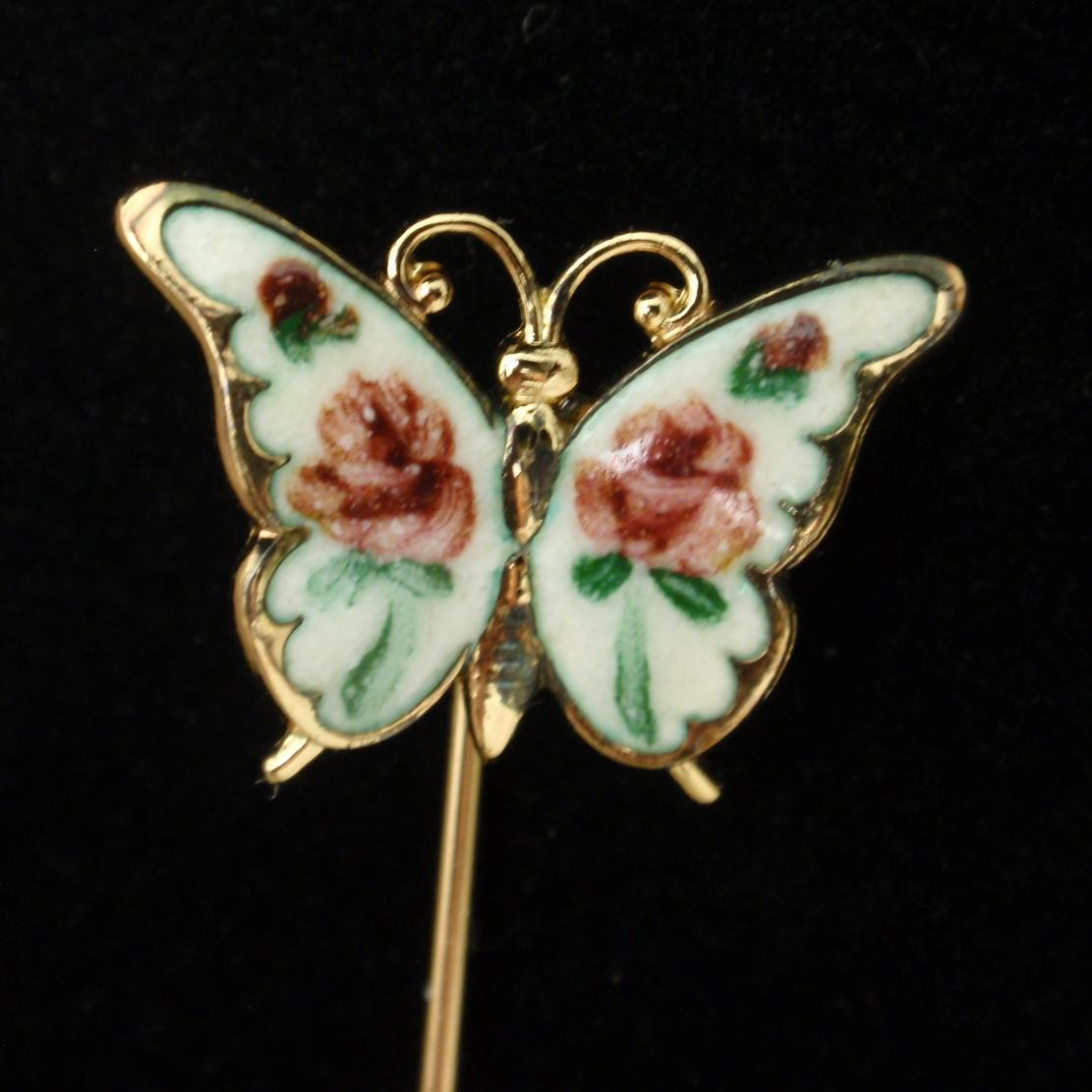 Butterfly Stick Pin Sterling Silver Enamel Vintage Beau