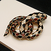 Snake Brooch Pin Ciner Enamel Coiled Serpent Vintage Harlequin Pattern