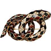 Snake Brooch Pin Ciner Enamel Coiled Serpent Vintage Harlequin Pattern