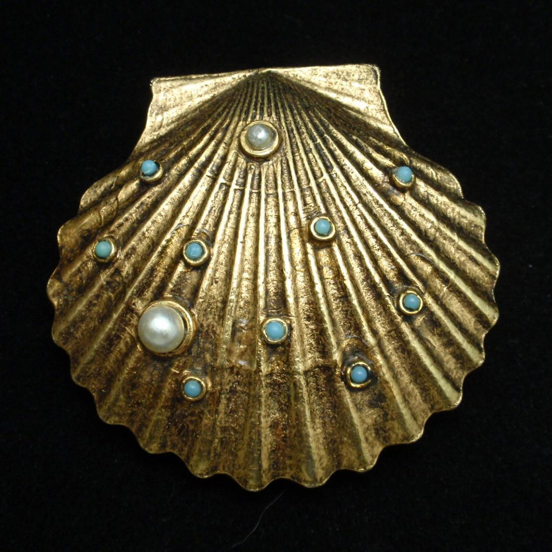 Jeweled Seashell Brooch Pin Optional Scarf Clip Vintage Art