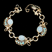 Barclay Moonstone and Aqua Rhinestone Bracelet Vintage