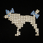 Poodle Dog Brooch Pin Swarovski Crystals by Dominique