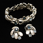 Coro Bracelet Earrings Set Satin Finish 2 Colors Rhinestones