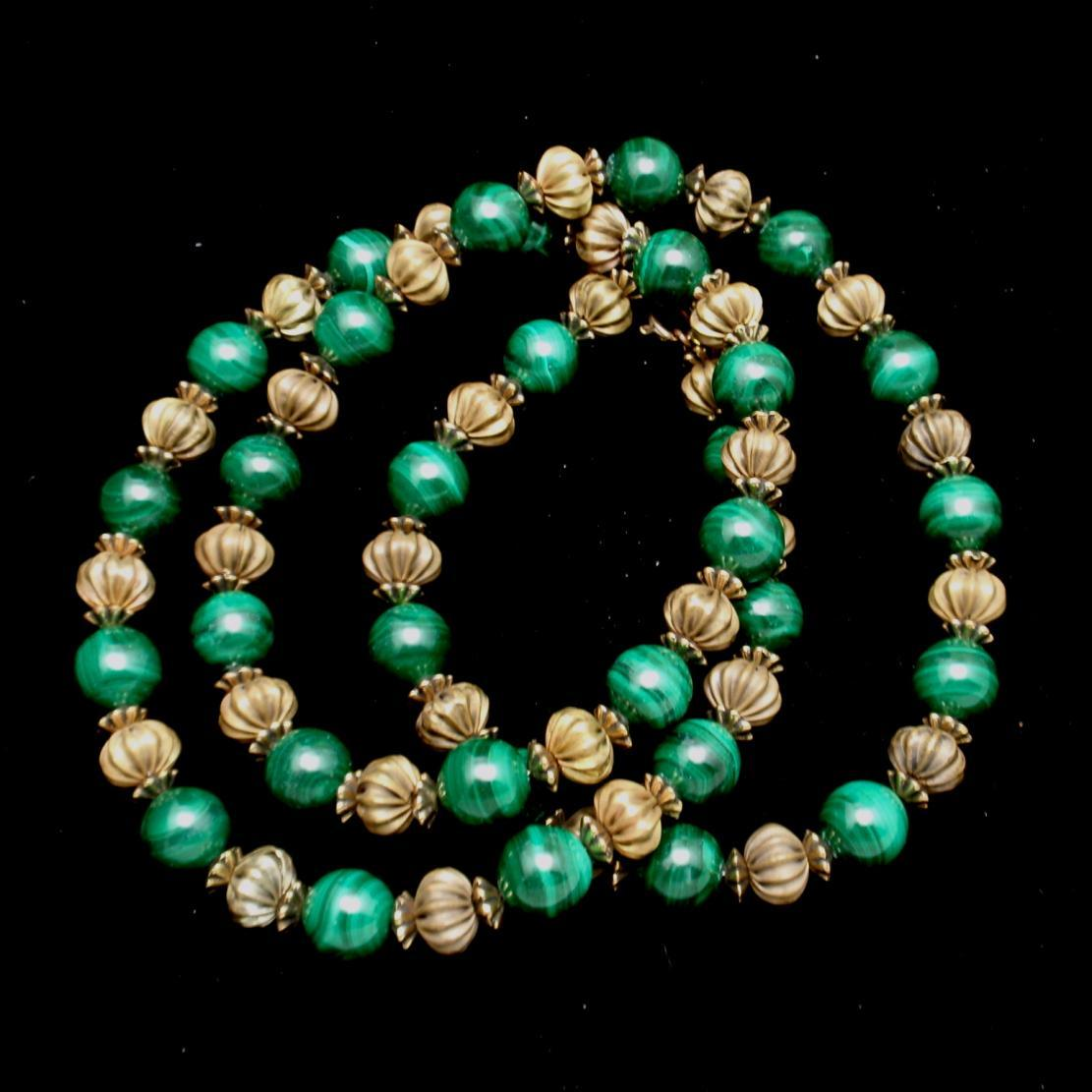 Malachite and Fluted Beads Necklace Vintage