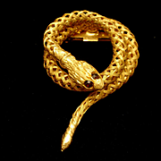 Snake Brooch Pin Vintage Braided Wire Coiled Serpent
