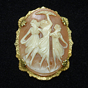 Three Graces Cameo Pin Vintage Gold Filled