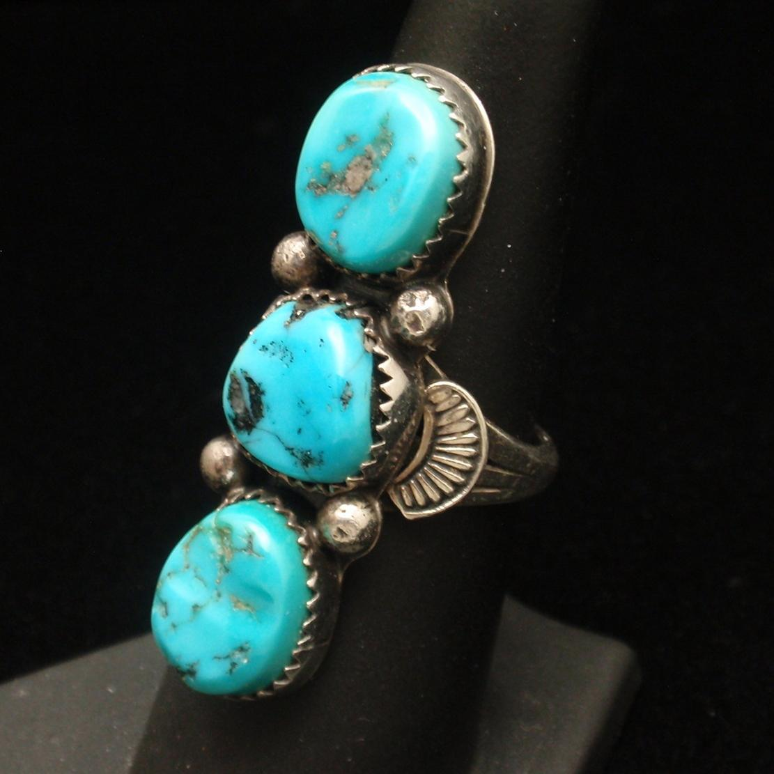 Sterling Silver Turquoise Ring Size 6.5 Hallmarked RB