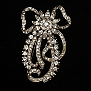 Rhinestone Bow Fur Clip Pin Vintage High Quality