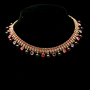 Kramer Rhinestone Necklace Quality Stones Red Pink Purple Vintage